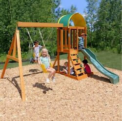 Swing Set Children Play Cedar Wooden Structure Outdoor Playground Slide Sandbox