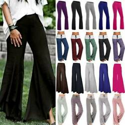 Womens Wide Leg Yoga Pants Bootcut Flared High Waisted Casual Palazzo Trousers L $15.99