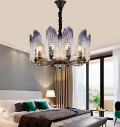 Modern Peacock Crystal Chandelier 10-Lights LED Glass Pendant Ceiling Fixture $117.89