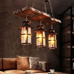 3 Ligh Antique Country Chandelier Wood Light Fixture For Kitchen Dining Room Bar $119.13