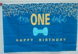 Boys 1st Birthday Mr. Onederful Backdrop Blue Bow Tie Theme Photography Banner $10.00