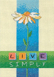 Counted Cross Stitch Mini Kit Dimensions Live Simply Daisy Flower #6975 $7.99