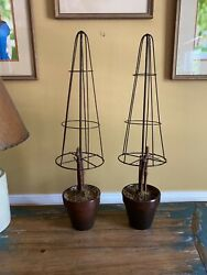 Pair Table Top Topiary#x27;s Wire Frame Fixed in Pots 24quot; $45.00