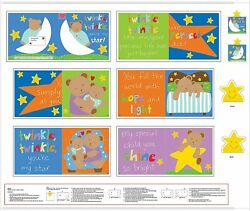 Twinkle Twinkle Little Star Cotton Fabric Panel Huggable amp; Loveable Books Bfab $8.24