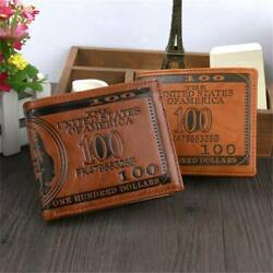 Men#x27;s US 100 Dollar Bill Leather Bifold Card Photo Holder Wallet Handbag Purse $5.98