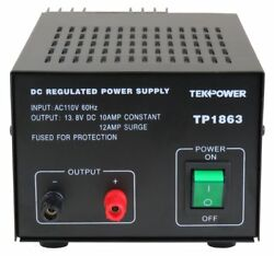 TekPower TP1863 12 Amp DC 13.8V Regulated Power Supply with Fuse Protection $65.99