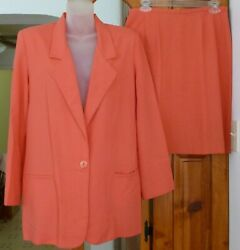JACLYN SMITH Peach SKIRT SUIT Short Straight SKIRT Long JACKET Notch Lapel 10 $14.99