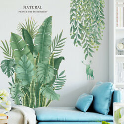 Hot Tropical Leaves -Plant Wall Stickers PVC Nursery Art Mural US