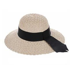 Straw Hat Wide Hatband and Tail Classic Look Women#x27;s Sun Beach $12.00