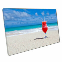 Print on Canvas Cocktail on Tropical Beach Ready to Hang Canvas Art 30x20 Inch GBP 18.06