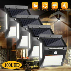 100 LED Solar Waterproof Power PIR Motion Sensor Wall Light Outdoor Garden Lamp $11.97