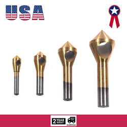 4x HSS Hole Chamfering Tool Countersink and Deburring Drill Bits Titanium Coated $11.99