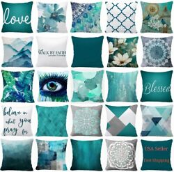 Throw PILLOW COVER Teal Blue Decorative White Soft Abstract Cushion Case 16x16quot;
