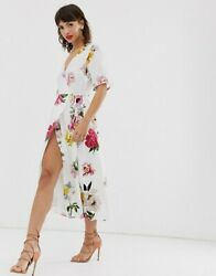 NEW WAREHOUSE FLORAL WRAP OVER FRONT MIDI DRESS PARTY WEDDING SUMMER LOOK UK 10 $112.59