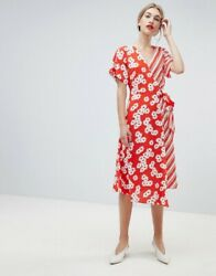 NEW WAREHOUSE DAISY STRIPE MIXED PRINT RED WRAP OVER DRESS SUMMER DAY LOOK UK 14 $68.81