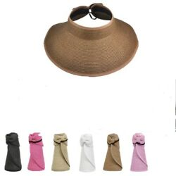 New fashion women summer sun beach straw visor foldable roll up hats $8.99