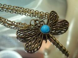 Modernist X Great Dragonfly Blue White Swirl Lucite Vintage 80#x27;s Necklace 783jn0 $21.49