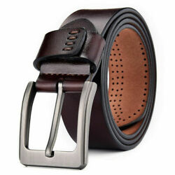 100% Genuine Leather Mens Belts Square Buckle Trouser Sizes Black Jeans US Stock $11.95
