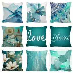 Throw PILLOW COVER Teal Blue White Decorative Abstract Soft Cushion Case 20x20quot;
