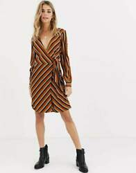 NEW BRAVE SOUL STRIPE STRIPED WRAP OVER TIE FRONT DRESS DAY NIGHT SUMMER LOOK 14 $28.76