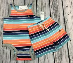Baby Gap Boys 3 6 Month Bright Stripe Shirt amp; Shorts Cotton Outfit. Nwt $22.99