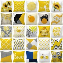 Cushion COVER Yellow White Soft Decorative Gray Sofa Throw Pillow Case 18x18quot; US