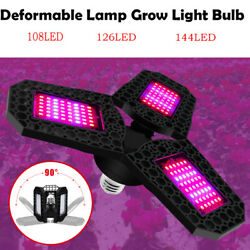 Foldable E27 Led 6000K Grow Light Full Spectrum Lamp Hydroponics Plant Flower $12.34