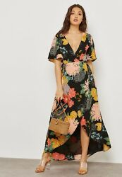NEW GLAMOROUS FLORAL WRAP OVER FRONT MAXI DRESS PARTY WEDDING SUMMER LOOK UK $43.79