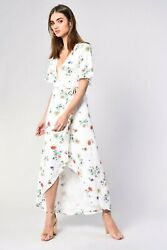 NEW GLAMOROUS WHITE GARDEN FLORAL WRAP OVER FRONT MAXI DRESS PARTY SUMMER LOOK $43.79