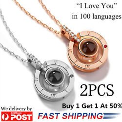 2 PCS - I LOVE YOU in 100 languages 18K Gold Pendant Necklace For Memory of LOVE $5.99