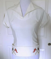 Vintage 50s 60s White Pique Pullover Top Embroidered Flags Baila Miami Beach C34 $19.99