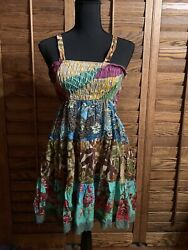 BLUE SKY Womens Adjustable Button Strap Boho Fair Trade Summer Dress Size Small. $18.00