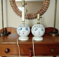 Vintage Lamps Painted Sweet Little Girl Face Set Of 2 $69.99