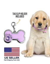 Glitter Bone Personalized Dog Tag Small Dogs Puppy Puppy ID Name Engraved Tags $9.45