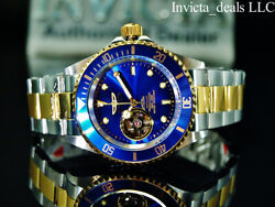Invicta Men's 40mm Pro Diver AUTOMATIC NH38A OPEN HEART Blue Dial 2Tone SS Watch $79.99