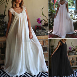 Womens Baggy Sleeveless Long Maxi Dress Lace Patchwork Holiday Party Dresses New $14.59