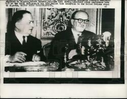 1957 Press Photo Premier Guy Mollet and Minister Robert Lacoste conference $19.99