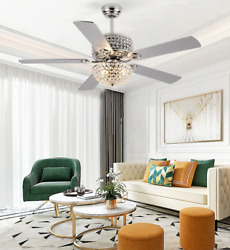 52quot; Retro Crystal Chandelier Silver Ceiling Fan Light with Wooden Blades Remote $189.89