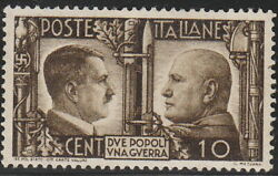 Stamp Italy SC 0413 WWII Hitler Mussolini Rome Berlin Axis Germany War MNH $9.95