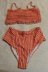 Cupshe Women#x27;s Gingham Smocked High Waisted Bikini DD5 Red Size XL NWT $18.74