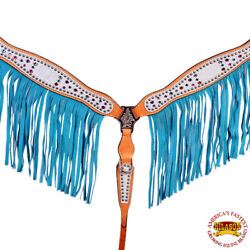 C-Q-BC Western Horse Breast Collar Tack American Leather Fringes Hilason $64.95