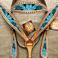 C--SET Western Horse Headstall Breast Collar Set Tack American Leather Turquoise $99.99