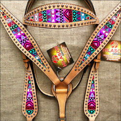 C-TEC3 Western Horse Headstall Breast Collar Set Tack American Leather Tan Aztec $99.99