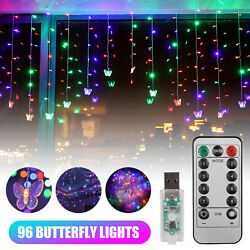 Butterfly Curtain Fairy Hanging 96 LED String Lights Colorful Wedding Home Party $15.97