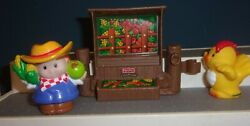 LITTLE PEOPLE  FIGURES LOT OF 3 FARMER CHICKEN & FRUIT STAND  FENCE FISHER PRICE $14.50