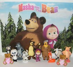 Masha and the Bear Figure Set of 12 Toy Kit with 2 Cutie Bear Rings $10.95