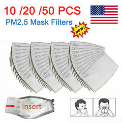 10-50PCS PM2.5 Activated Carbon Filter 5 Layer Replacement For Breathing Cover $13.99