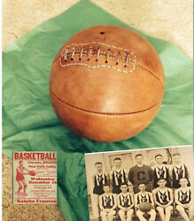 1915 Antique Laced Leather Basketball Naismith Style Distresed tan ii $59.00