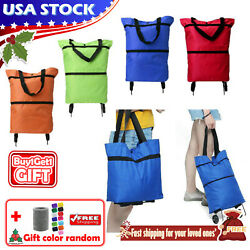 Foldable Portable Shopping Storage Bags Trolley Bag Food Grocery Cart On Wheels $10.99