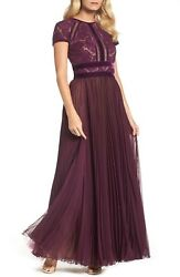 NEW TADASHI SHOJI Autumn Purple Amanda Pleated Lace Velvet Chiffon Gown 10 ML